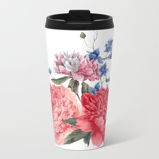 Beautiful PINK, ROSE AND BLUE - Jersey Beauty Flower Metal Travel Mug