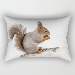 Red squirrel testing nut Rectangular Pillow
