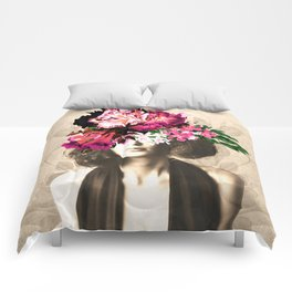 Floral Woman Vintage White Rose Gold Comforters