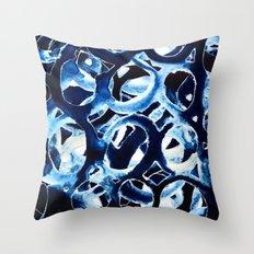Cobalt Circles Throw Pillow