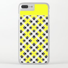 Combo black yellow plaid Clear iPhone Case