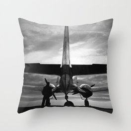 Airplane at sunrise Throw Pillow