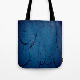 Navy Blue - Jackson Pollock Style Art - Abstract - Expressionism - Corbin Henry Tote Bag