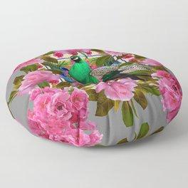 PINK ROSE CLUSTERS & GREEN PEACOCK GREY ART Floor Pillow