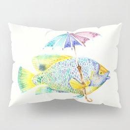 Fishy Fish - Original Watercolor of Yellow Mask Angel Fish with Umbrella Pillow Sham
