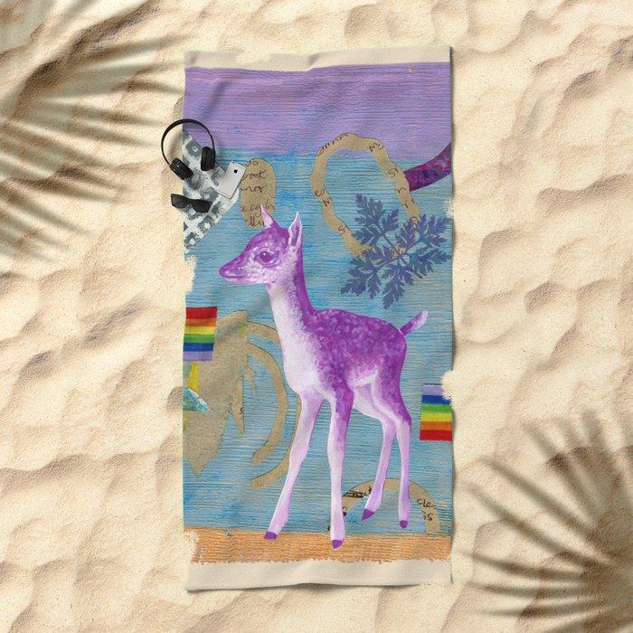 rainbow deer 2 Beach Towel