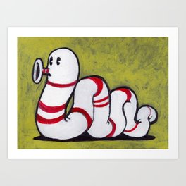 Early Worm - Worm on Green #2 Art Print