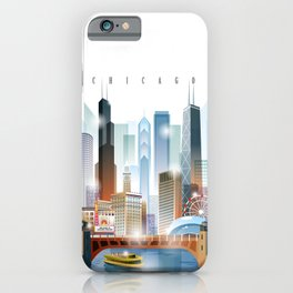 Chicago city skyline painting iPhone Case