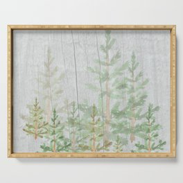 Pine forest on weathered wood Serving Tray