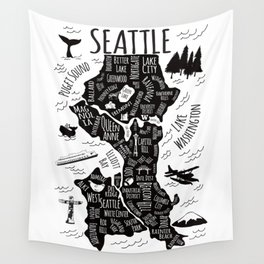 Seattle Illustrated Map in Black and White - Single Print Wall Tapestry