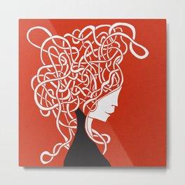 Iconia Girls - Ella Red Metal Print