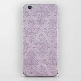 Vintage chic violet lilac floral damask pattern iPhone Skin