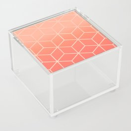 Living Coral Gradient - Geometric Cube Design Acrylic Box