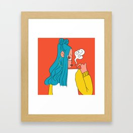 Blue hair girl Framed Art Print