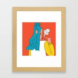 Blue hair girl Framed Art Print