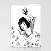 mia wallace Stationery Cards featuring Chilling with Mia Wallace  by MORPH3US