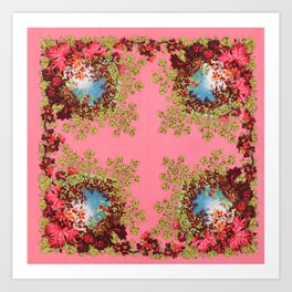 Traditional folk embroidery with flowers Art Print