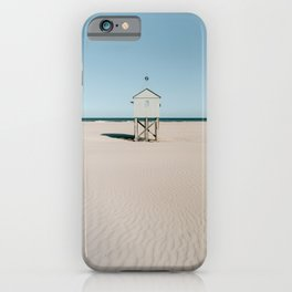 White tiny beach house || Travel Photography || Pastel color Fine art coastal sea ocean minimalistic iPhone Case
