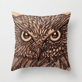 Fierce Brown Owl Throw Pillow
