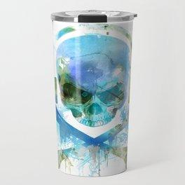 Watercolour Skull & Crossbones with Headphones. Travel Mug