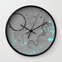 mucha Wall Clocks featuring A. Mucha by Daniel Cisneros