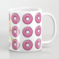 simpson Mugs featuring Serious Homer Simpson by Yuliya L