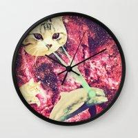 saga Wall Clocks featuring Galactic Cats Saga 2 by Carolina Nino