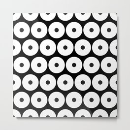 Navajo Black and White Pattern: Circle as a union Metal Print