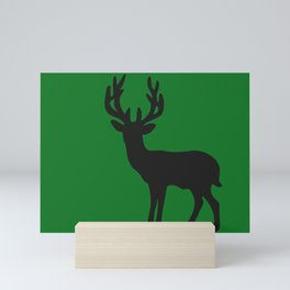 Big Reindeer silhouette green Mini Art Print