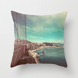 San Francisco Bay from Golden Gate Bridge Throw Pillow