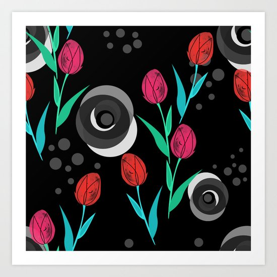 Abstract floral pattern tulips. Black background . Art Print