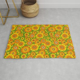 Busy bunch with green base Rug