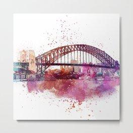 Sydney Harbor Bridge Watercolor Art Metal Print