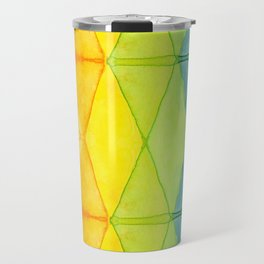 Geometric Abstract Rainbow Watercolor Pattern Travel Mug
