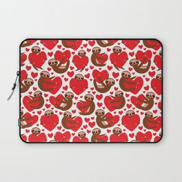 pattern Three-toed sloth holding red heart, on white background. Valentine's Day Card. Funny Kawaii Laptop Sleeve