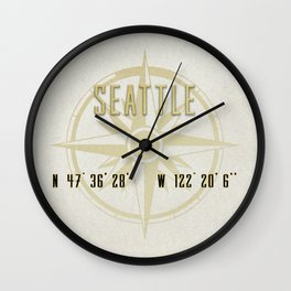 Seattle - Vintage Map and Location Wall Clock