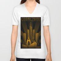 china V-neck T-shirts featuring Guangzhou (China) by Misha Libertee