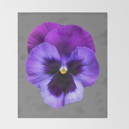 GREY MODERN ART SINGLE PURPLE PANSY Throw Blanket