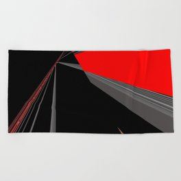 Bold Red Black Abstract Pattern Beach Towel