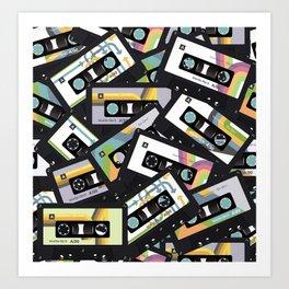Mixtapes for My Love 80s Old School Cassette Tape Pop Art Art Print