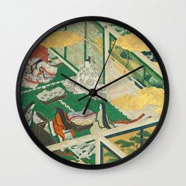 "Takumi Tosa, Genji Monogatari 鬘 ""Tama-an "" ""A Lovely Garland"" (Tamakazura) ,17th century Wall Clock"
