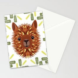 Alpaca brunette portrait. Frame of Mesquite Tree Branches Stationery Cards