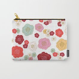 floral roses in warm reds Carry-All Pouch