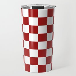Cranberry Red and White Checkerboard Pattern Travel Mug