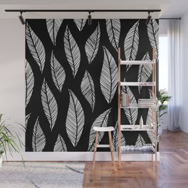 Black and White Tropical Motif Wall Mural