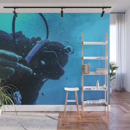 Scuba diver flipping off underwater, Middle finger Underwater Wall Mural