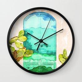 Wavy Summery Blue Door - For Doors & Travel Lovers Wall Clock