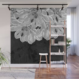 Elegant Black and White Flowers Design Wall Mural