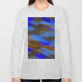 camouflage splash painting abstract in blue brown and dark blue Long Sleeve T-shirt