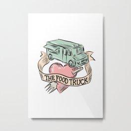Food Truck Heart Fork Etching Metal Print